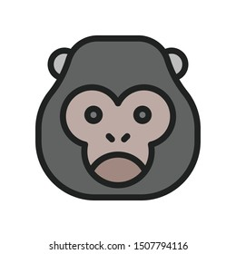 Gorilla icon in filled outline style