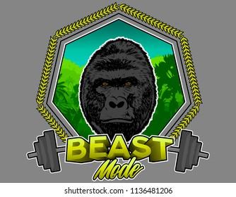 Gorilla Illustration, fitness beast mode training, with grey background. Vector Illustration.
