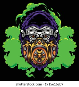 Gorilla illustration with gas mask available for your custom project
