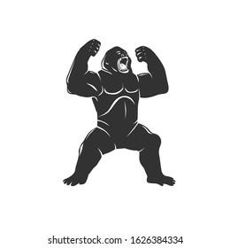 Gorilla isolated on white. Vector illustration.