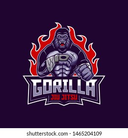 Gorilla jiu jitsu logo mascot illustration