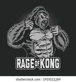 gorilla kong gets angry and screams artwork vector