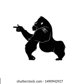 gorilla logo and ape vector with angry face and icon of wildlife animal