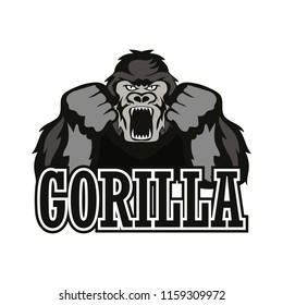 gorilla logo isolated on white background. vector illustration