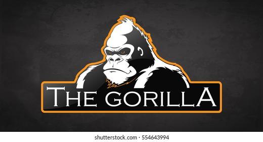 Gorilla logo on a dark background. Vector gorilla logo with room for text.