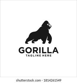 gorilla logo silhouette design icon vector