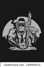 Gorilla Mafia funny vector illustration