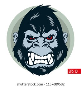 Gorilla mascot, face and head, vector illustration.