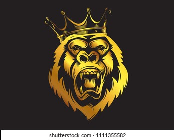 Gorilla mascot gold sport logo, emblem, illustration on a dark background