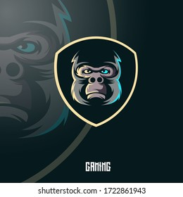 Gorilla mascot logo design vector with modern illustration concept style for badge, emblem and t shirt printing. Angry gorilla illustration for sport and e-sport team.