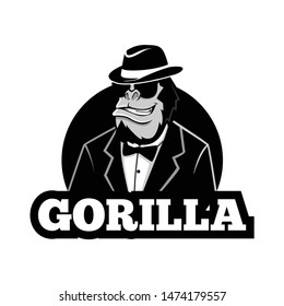 gorilla mobster character mascot with glasses and hat