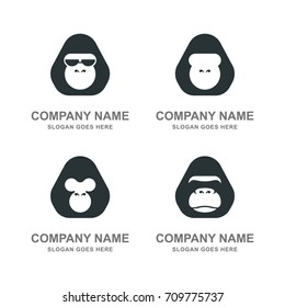 Gorilla Monkey Ape Animal Logo Mascot Collection Set