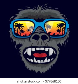 Gorilla monkey tropical sunglasses illustration, t-shirt graphics, vectors