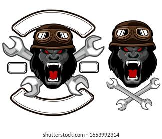 Gorilla motor service logo in vector