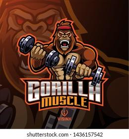 Gorilla muscle esport mascot logo design
