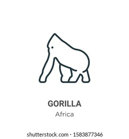 Gorilla outline vector icon. Thin line black gorilla icon, flat vector simple element illustration from editable africa concept isolated on white background