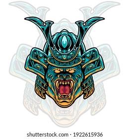 gorilla samurai head illustration for your merchandise or business