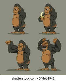 Gorilla set. Vector design