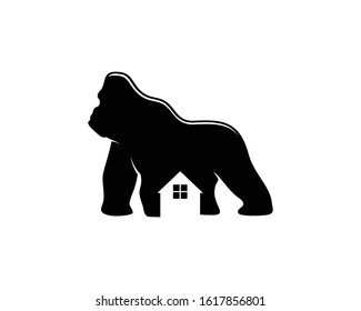 gorilla shape with house silhouette inside