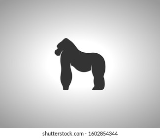 gorilla Silhouette on White Background. Isolated Vector Animal Template for Logo Company, Icon, Symbol etc