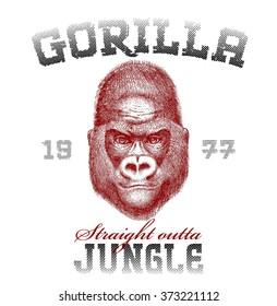 Gorilla Silk print. Vector