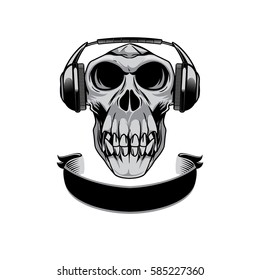 Gorilla skull  grey scale black white illustration with headset, cap and ribbon