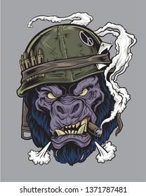 Gorilla Soldier with Cigar
