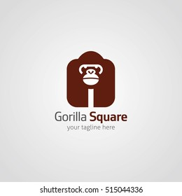 Gorilla Square Logo Design Template. Vector illustration with flat style