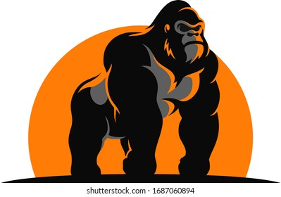 The Gorilla Standing In the Sunset Vector Design Logotype