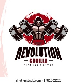 Gorilla with strong body, fitness club or gym logo. Design element for company logo, label, emblem, apparel or other merchandise. Scalable and editable Vector illustration