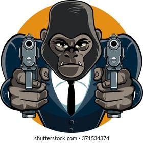 gorilla in suit aiming with pistols