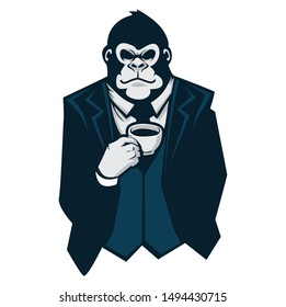 gorilla with suit character design