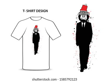 Gorilla in a suit with red hat vector illustration, monkey Bodyguard cartoon, Chimpanzees character, animal graphic element, t-shirt design