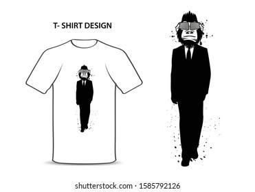 Gorilla in a suit vector illustration, monkey Bodyguard cartoon, Chimpanzees character, animal graphic element, t-shirt design