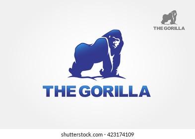 Gorilla for the symbol. Artistic silhouette of wild animals. Logo Illustration