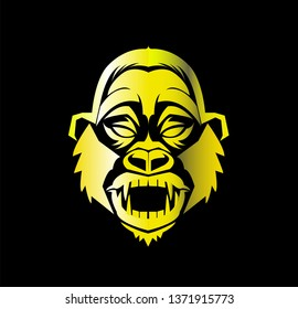gorilla vector with angry face of beast ape and silhouette of kong