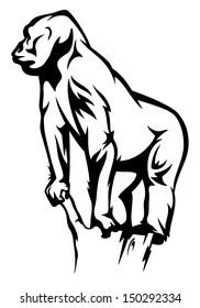 gorilla vector illustration - black and white outline