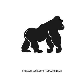 Gorilla vector logo. Chimp black silhouette icon. Illustration of big ape standing in profile.