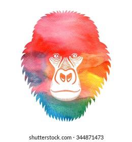 Gorilla. Watercolor vector. Gorilla sign, gorilla logo. Monkey isolated on white background.