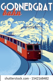 Gornergrat Bahn Travel Poster with railway train in first plan and mountains in the background. Handmade drawing vector illustration. Vintage style.