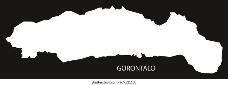 Gorontalo Indonesia map black inverted silhouette illustration shape