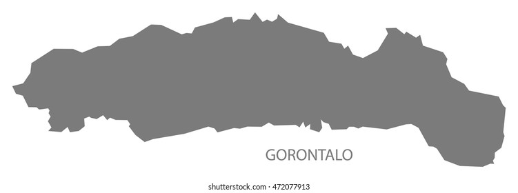 Gorontalo Indonesia Map in grey