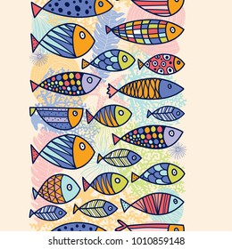 Gorozontal seamless border with fish.