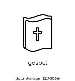 gospel icon. Trendy modern flat linear vector gospel icon on white background from thin line Religion collection, editable outline stroke vector illustration
