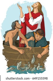 The Gospel story where Jesus give his blessing to a great catch. Also available coloring book version