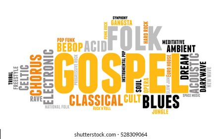 Gospel. Word cloud, type font, white background. Music concept.