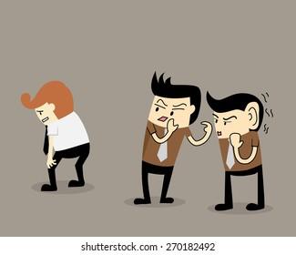 Gossip colleague, two businessman talk about a colleague