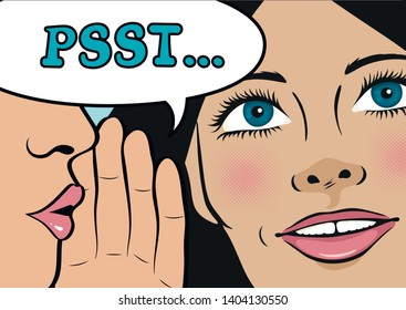 Gossip girl whispering in ear secrets, rumor. Word-of-mouth. Close up. Speech bubble Psst! Vector illustration in Pop Art style