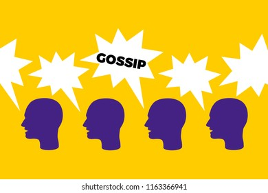Gossip - organic spread of informal and negative information through social talking and speaking with people in the group. Verbal attack and assault through communication. Vector illustration