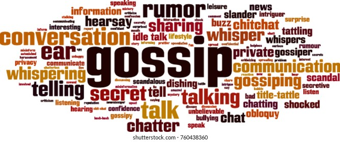 Gossip word cloud concept. Vector illustration